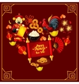 Heart with Chinese New Year traditional symbols vector image vector image