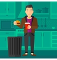 Man throwing junk food vector image