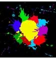 Colorful splashesh isoleted on black bacground vector image