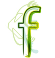 Green letter F vector image