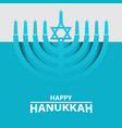 hanukkah menorah on light blue background happy vector image