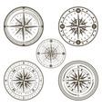 marine compass line art set vector image