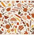 cookware kitchen seamless pattern in brown shades vector image