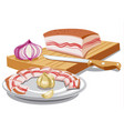 sliced pork lard vector image