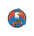 Bald Eagle Policeman Baton Circle Cartoon vector image