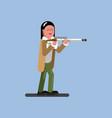hunter girl ready to shoot vector image