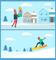 man with gifts and snowboarder vector image