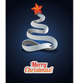 Modern christmas card with tree made from ribbon vector image vector image