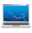 stock chart on laptop mobile workstation vector image
