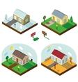 Isometric house set3D VillageSeasonal Landscapes vector image