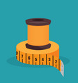 sewing thread with tape measure isolated icon vector image
