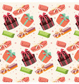 Background with colorful gift boxes seamless vector image