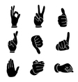 hands icons set vector image
