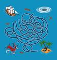 kids maze labyrinth treasure hunters vector image