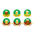 oktoberfest beer and barrel round flat icon vector image