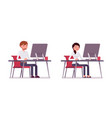 set of male and female clerk sitting at the vector image