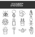 Magic flat icon set vector image