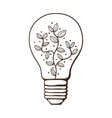Light bulb with leaves within vector image