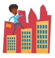 Businesswoman walking on roofs of the buildings vector image