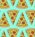 Sketch pizza slice in vintage style vector image