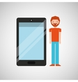 character man bearded with smartphone shiny layer vector image