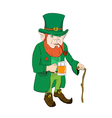 Leprechaun with a glass of beer and a cane vector image
