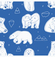 seamless pattern with white polar bears hand vector image
