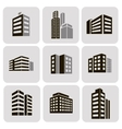 Buildings web sticker icons set vector image