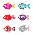 fish icon set 1115 vector image vector image