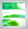 Set of green artistic watercolor backgrounds vector image