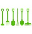 green gardening tools set vector image