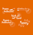 halloween set of greeting card calligraphy vector image
