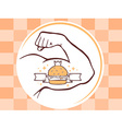 strong man hand with big burger icon on b vector image