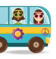 van with flower and hippie people concept vector image