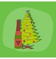 paper sticker on stylish background Christmas tree vector image