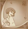 tender sepia roaring 20-s girl background vector image