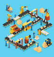 isometric automated production line concept vector image vector image