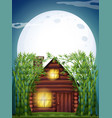 scene with wooden hut at night vector image vector image