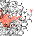 floral background with a love bird vector image