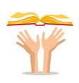 Human hands with open book vector image
