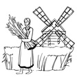 girl mill and rye vector image