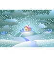 Snowfall over the small house vector image vector image