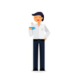 Employee with coffee vector image