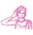 woman overhearing vector image