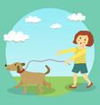 dog walking girl kid vector image