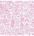 seamless pattern with love symbols in line style vector image