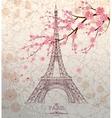 Vintage of Eiffel tower on grunge background vector image