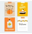 Set of cute hand drawn thanksgiving cards Autumn vector image