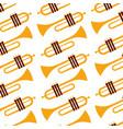 trumpet jazz instrument seamless pattern image vector image