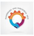 Creative handshake sign and industrial idea concep vector image